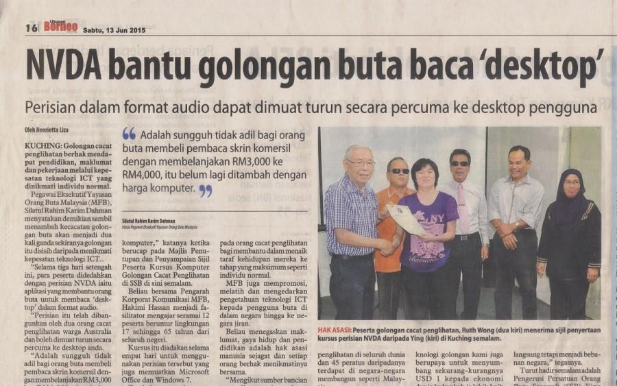 NVDA Sarawak Workshop Borneo Press Bahasa Malaysia Version