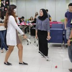 Student Trying Out Sensor White Cane