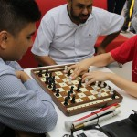 Students Blindfoled and Playing Chess